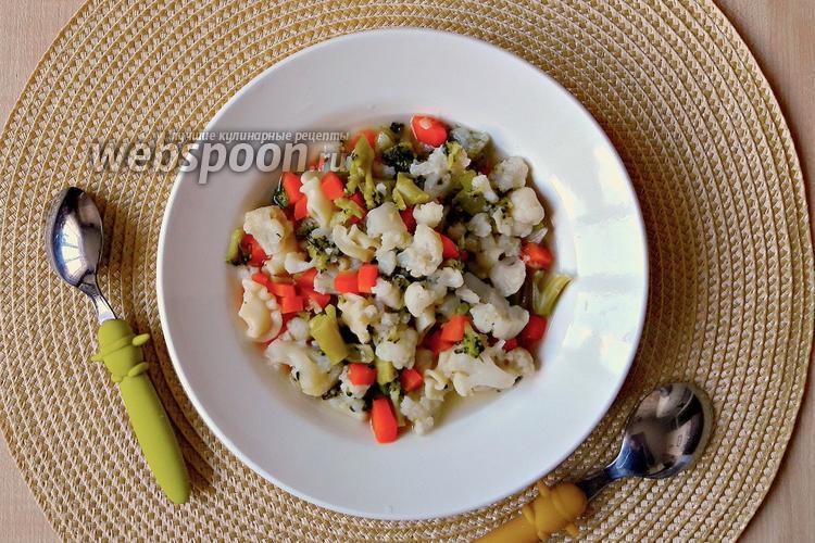 Фото Детский суп с цветной капустой, брокколи и макаронами