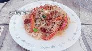 Фото рецепта Фунчоза с консервированным тунцом и овощами