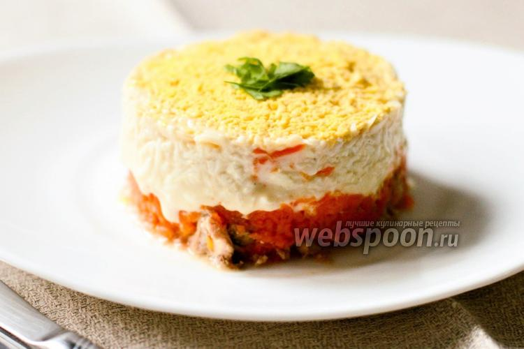 Фото Порционный салат с печенью трески и морковью