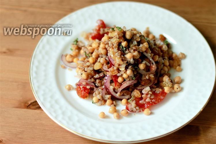 Фото Тёплый салат из гречки и нута
