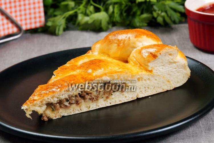 Фото Дрожжевой пирог с фаршем и грибами. Видео