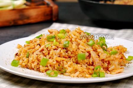 Рис с беконом и яйцом. Видео видео рецепт