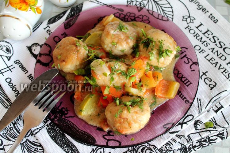 Фото Куриные фрикадельки в овощном соусе