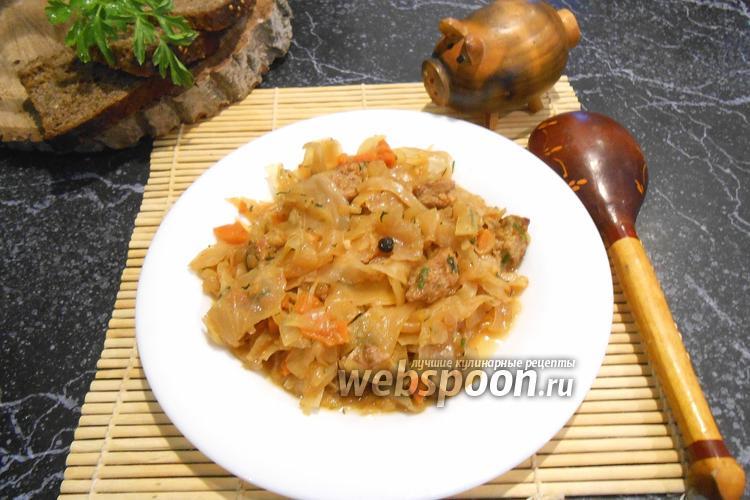 Фото Тушёная капуста с мясом в мультиварке