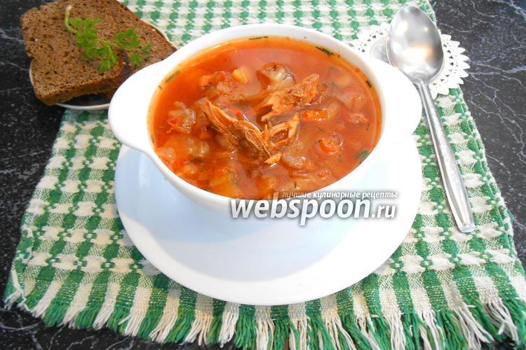 Фото Быстрый борщ с томатным соусом без зажарки в мультиварке