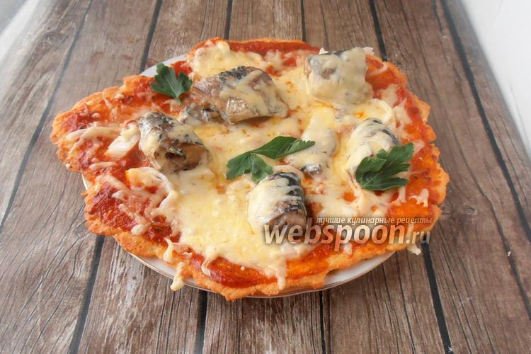 Фото Кето пицца с сардинами и маринованным луком