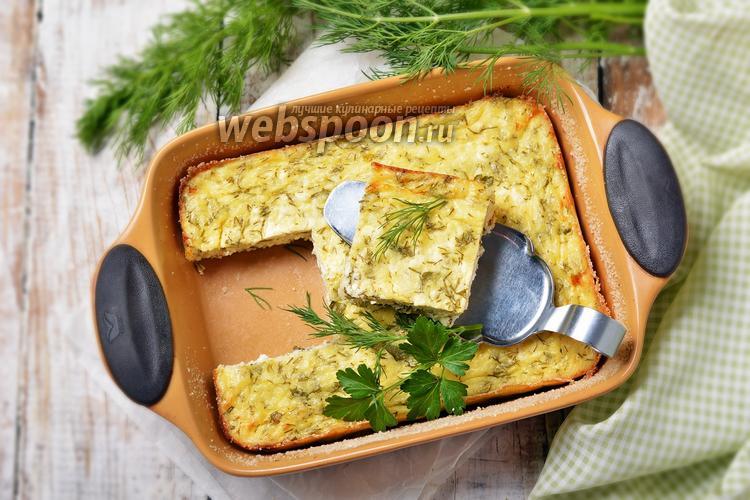 Фото Творожно-сырная запеканка с укропом и петрушкой