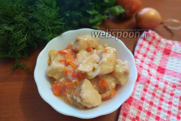 Фото Диетическая подлива из куриного филе с луком и морковью