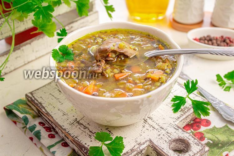 Фото Гречневый суп с куриной печенью