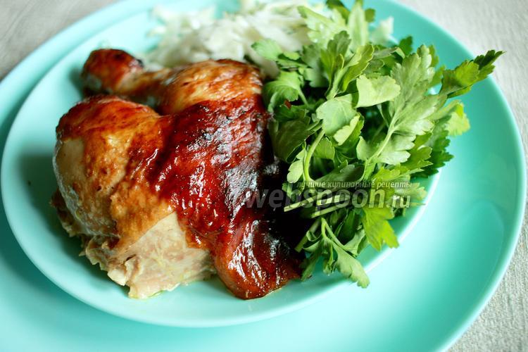 Фото Запечённая курица фаршированная ароматным маслом