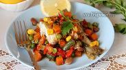 Фото рецепта Навага на овощной подушке на сковороде