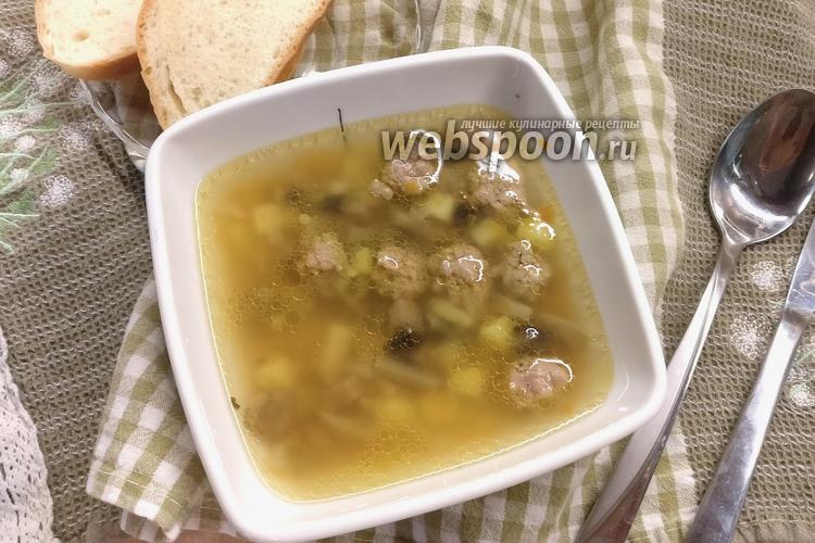 Фото Суп с фрикадельками и грибами