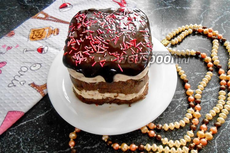 Фото Полосатая творожная пасха с шоколадной глазурью