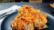 Фото рецепта Ленивые спагетти с мясом на сковороде. Видео