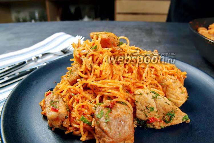 Фото Ленивые спагетти с мясом на сковороде. Видео