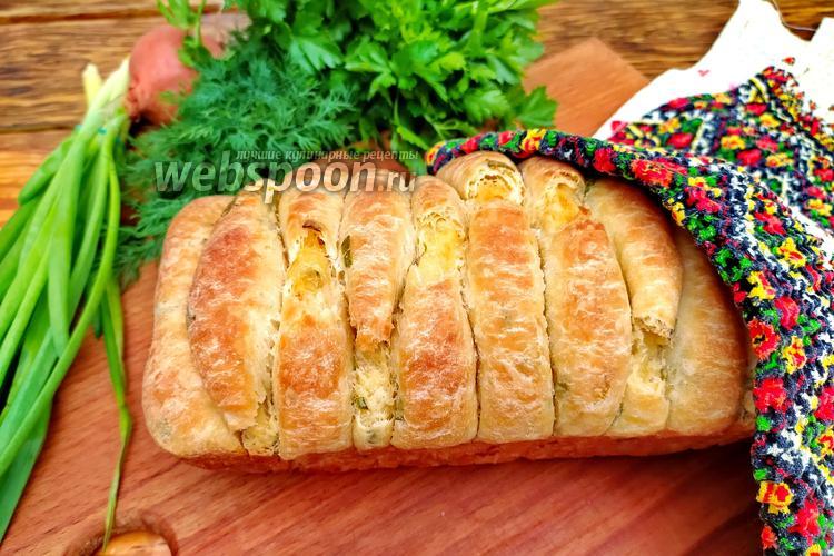 Фото Разборной хлеб с зелёным луком и сыром