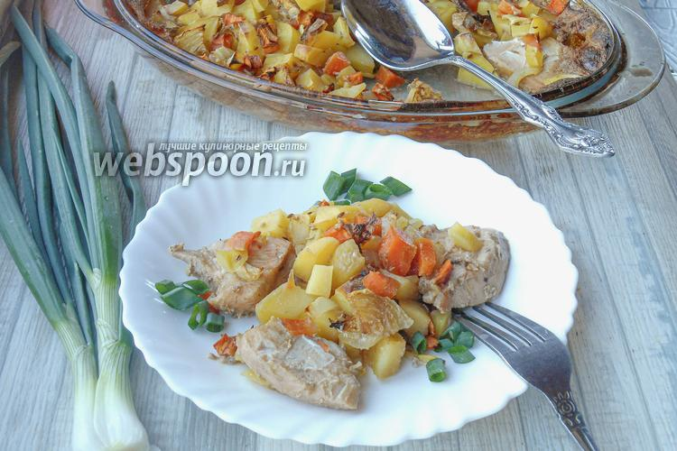 Фото Куриное филе с картошкой и овощами запеченное в сливках и соевом соусе