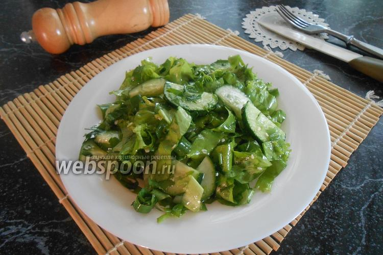 Фото Зелёный салат из огурцов с кунжутом