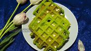 Фото рецепта Несладкие вафли со шпинатом без муки
