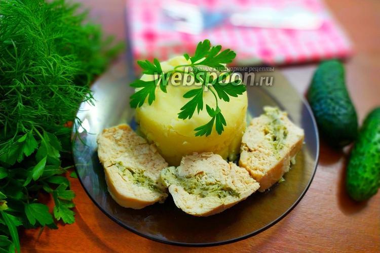Фото Куриное филе, фаршированное сыром и зеленью в духовке