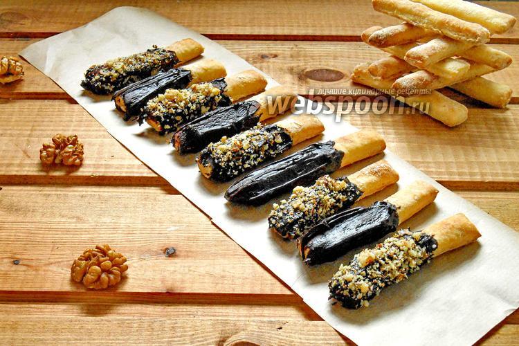 Фото Хрустящие палочки с шоколадом и орешками