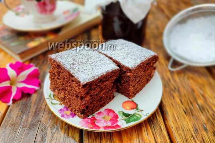 Фото Коврижка на кефире с какао и изюмом