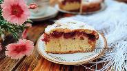 Фото рецепта Заливной пирог с вишневой начинкой