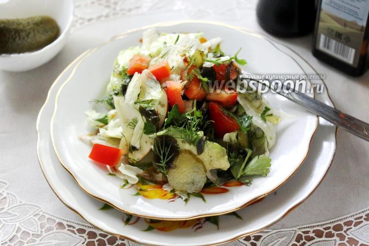Фото Салат с морской капустой, авокадо и яблоком