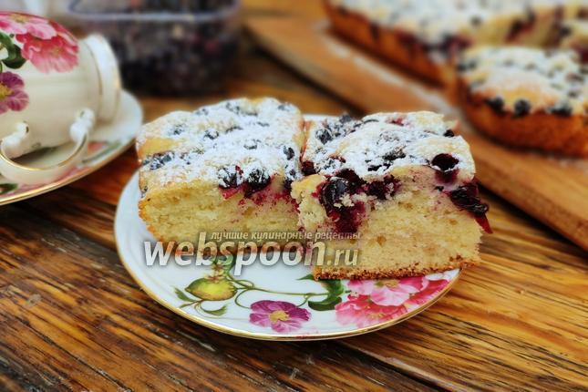 Фото Бисквитный пирог с чёрной смородиной