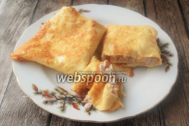 Фото Яичные блинчики с ветчиной и сыром