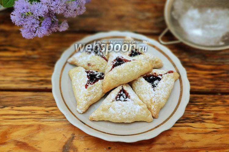 Фото Треугольное песочное печенье с вареньем