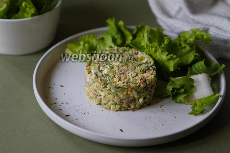 Фото Салат с тунцом, огурцом и яйцом по классическому рецепту