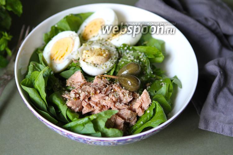 Фото Салат из шпината с тунцом и яйцами