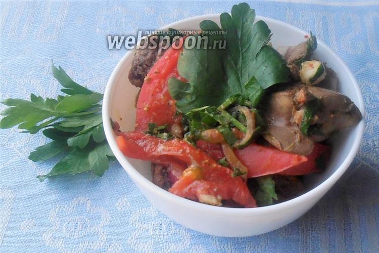 Фото Закуска из куриной печени с помидорами и хмели-сунели