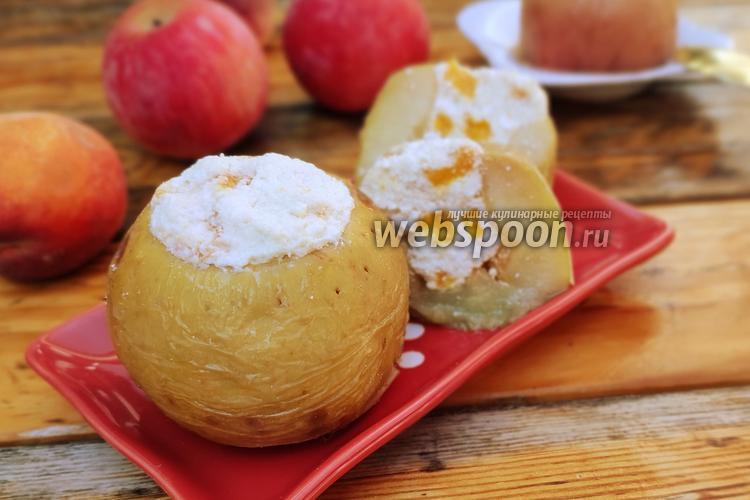 Фото Печёные яблоки с творогом и персиком