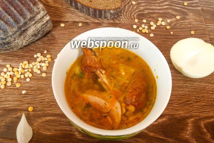 Фото Гороховый суп с копчёной куриной голенью