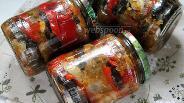 Фото рецепта Баклажаны с перцем в томатной заливке на зиму