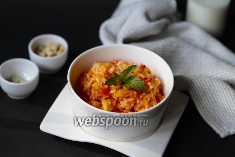 Фото Тушёные кабачки с рисом и овощами