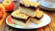 Фото рецепта Тёртый пирог с яблоками и шоколадным белковым слоем