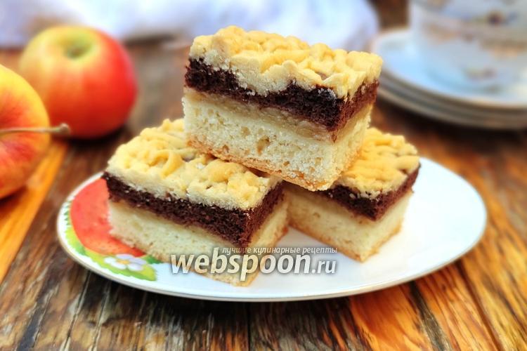 Фото Тёртый пирог с яблоками и шоколадным белковым слоем